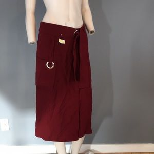 NWT A.L.C. Burgundy Cargo Skirt Wrap Around Sz 4